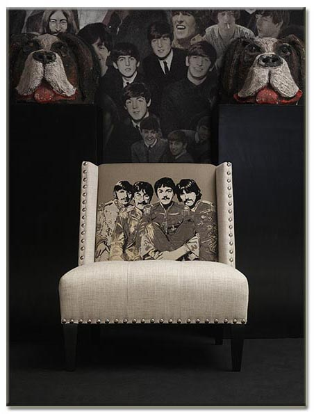 Beatles fabric covered side chair